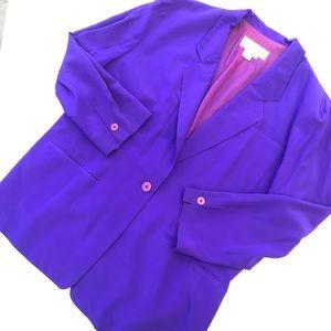 Diane Von Furstenberg Purple 100% Silk Blazer XL